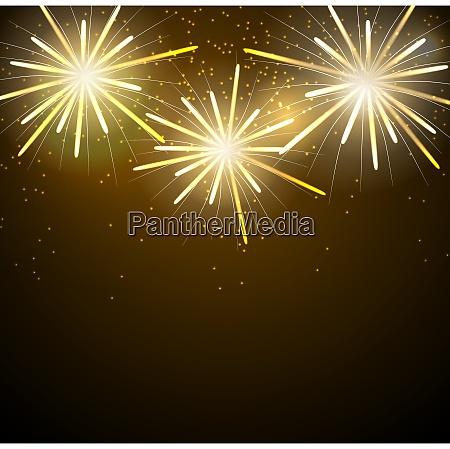 glossy fireworks on dark background vector