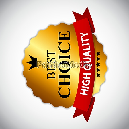 best choice golden label with ribbon