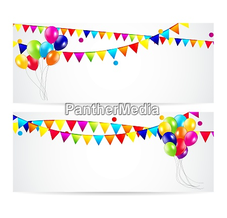 colored balloons card banner background vector