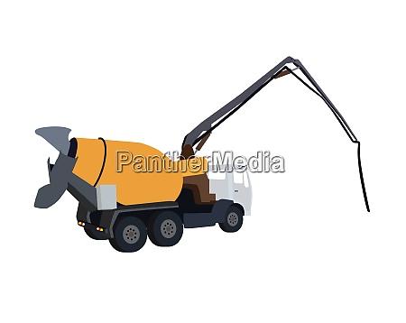 big machine concrete pump vector illustration