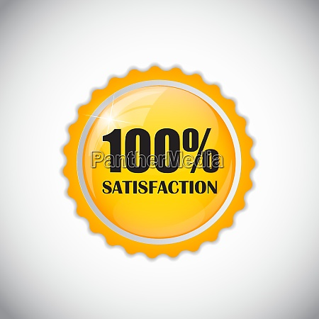 satisfaction golden label isolated vector illustration