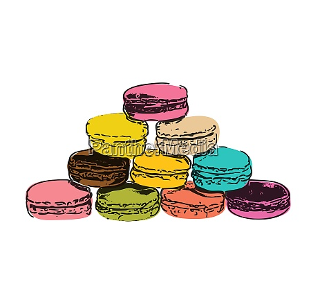 food sweet tasty drawn macaroons isolated