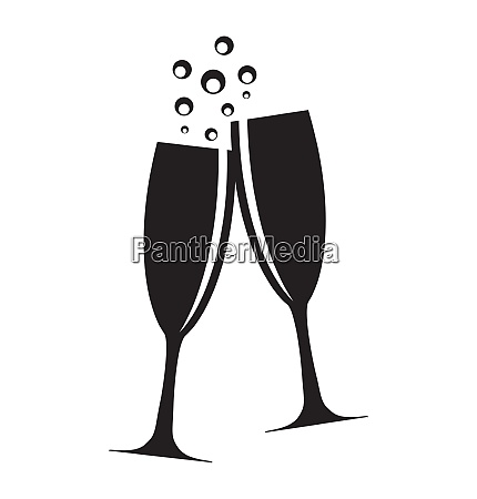two glasses of champagne silhouette vector