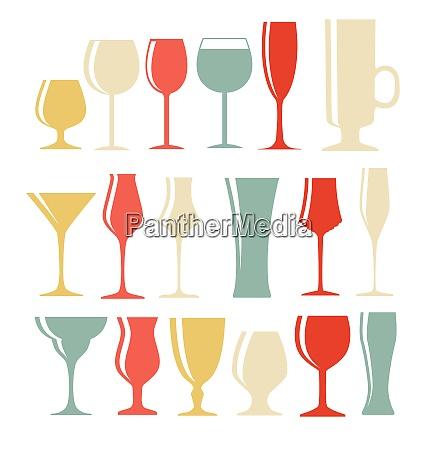set of black alcoholic glass silhouette