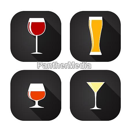 modern flat dink glass icon set