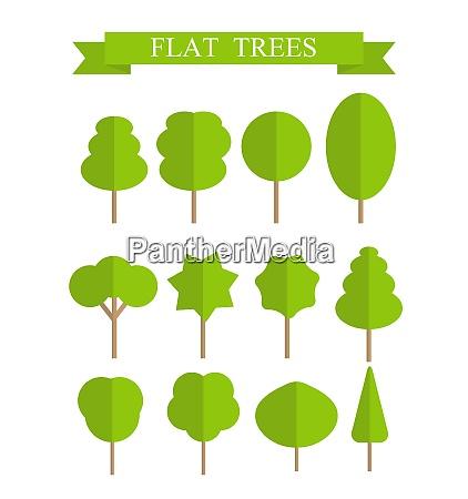 paper trendy flat trees set vector