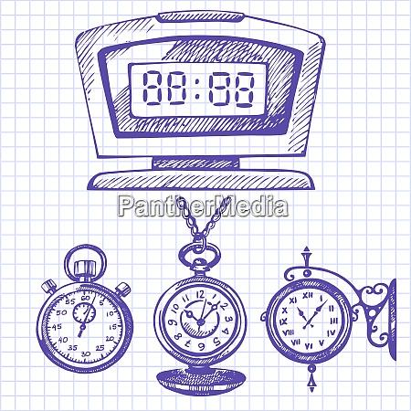 hand drawn set of clocks and