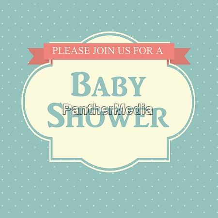 blue baby shower invitation vector illustration