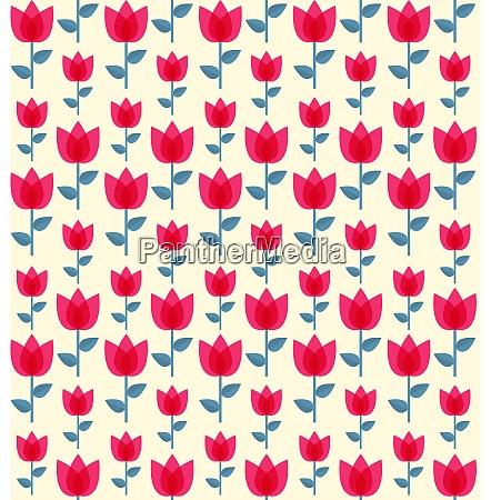 paper trendy flat flower seamless pattern