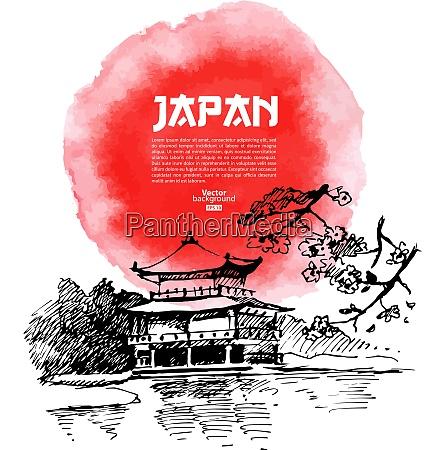hand drawn japanese sushi illustration sketch