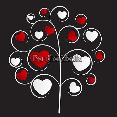 beautuful heart tree vector illustration on