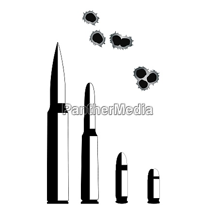 bullet weapons isolated on white background