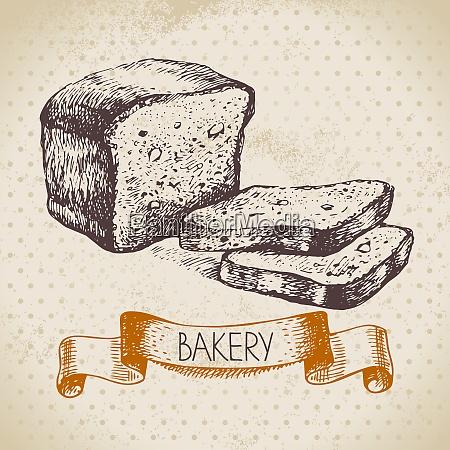 bakery sketch background vintage hand drawn