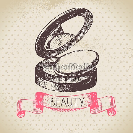 beauty sketch background vintage hand drawn