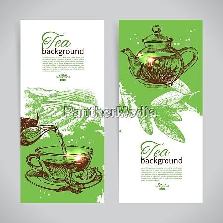 set of tea vintage banners hand