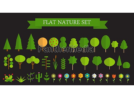 paper trendy flat trees and flowers