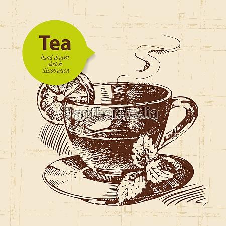 tea vintage background hand drawn sketch