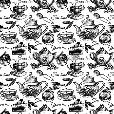 tea and cake seamless pattern hand
