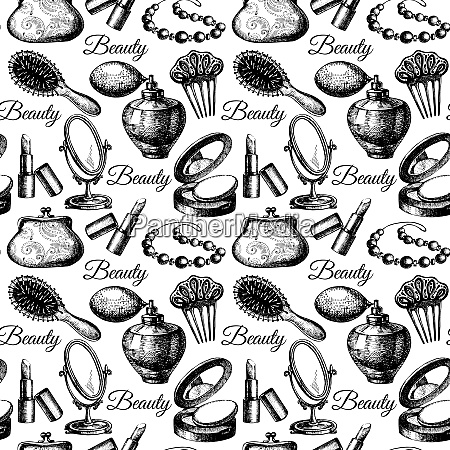 beauty seamless pattern cosmetic accessories vintage