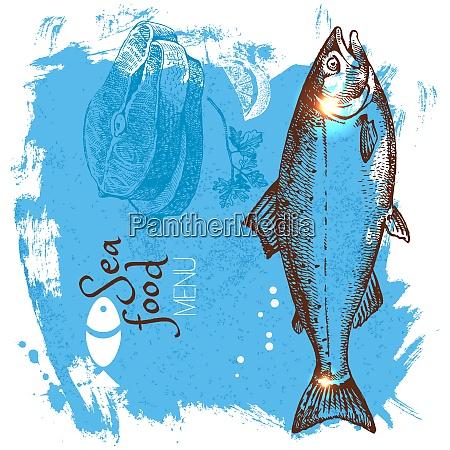 hand drawn sketch seafood vector illustration