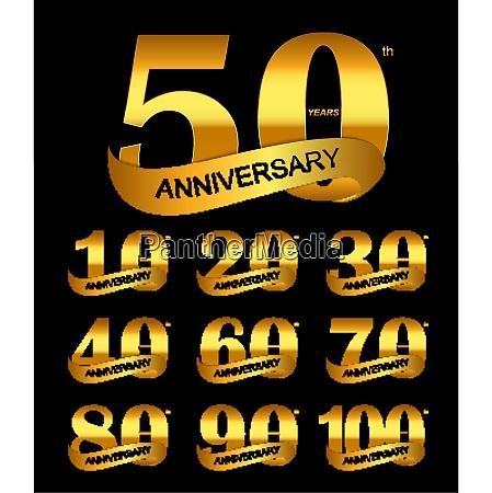 template logo set anniversary vector illustration