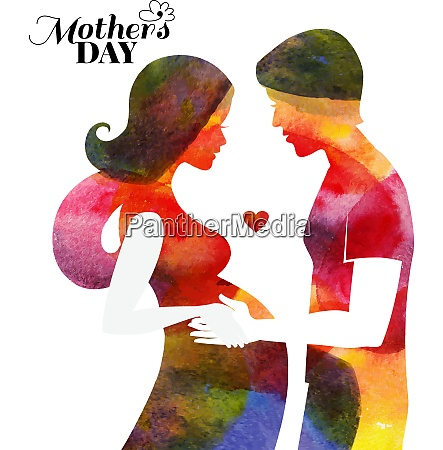 watercolor pregnant beautiful woman silhouette with