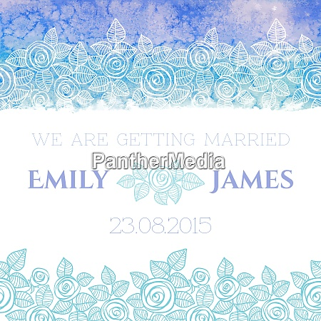 wedding invitation or greeting card with