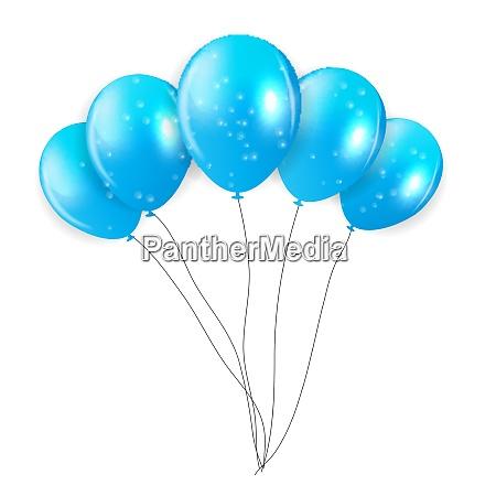 set of blue balloons vector illustration