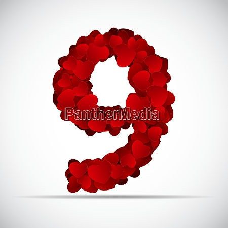 valentine day number of hearts vector