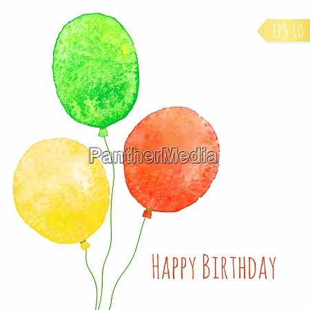 card with colored watercolor paint balloons