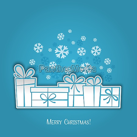 merry christmas gift card paper design