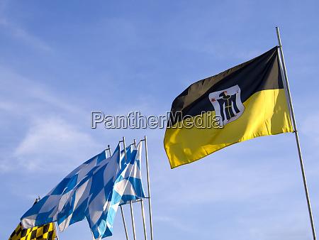 bavarian flags with munich flags