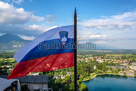 slovenian flag in bled