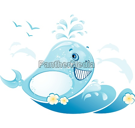 funny whale is made of water