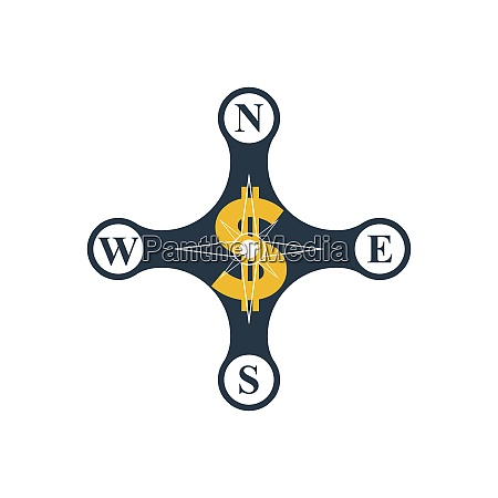 compass rose with dollar sign
