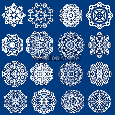 set of decorative paper snowflakes white