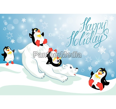 card with funny penguins and polar