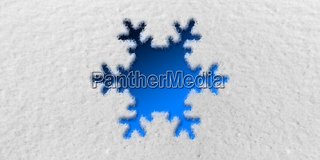 snowflake graphic in front of snow
