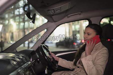 businesswoman talking on smart phone in