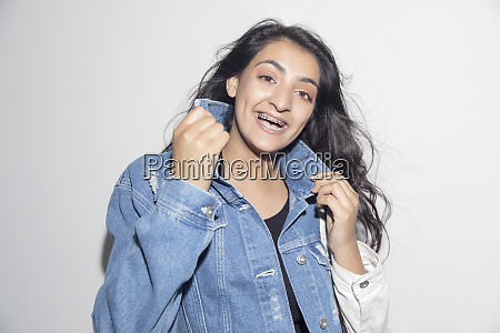portrait happy confident teenage girl with