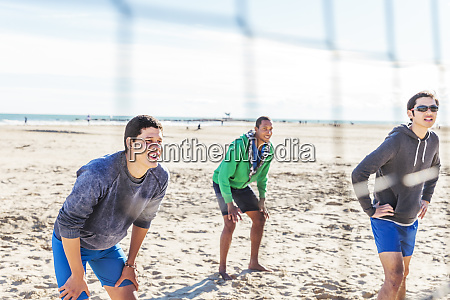 men, playing, beach, volleyball, on, sunny - 26350534