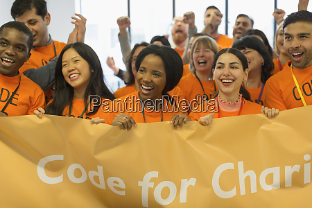 happy hackers with banner coding for