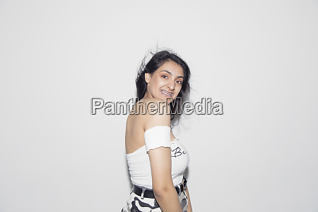 portrait confident carefree teenage girl with
