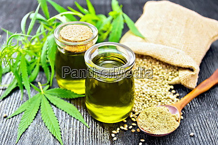 oil hemp in two jars and