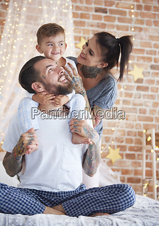happy family at christmas time in