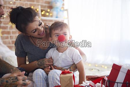 happy family having fun at christmas