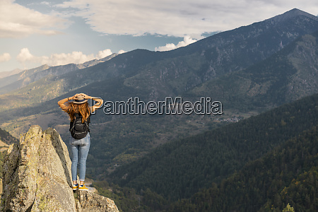 french pyrenees hiker on viewpoint