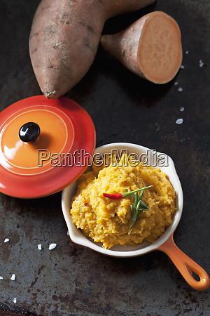 homemade sweet potato mash with chili