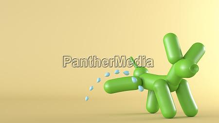 3d rendering peeing green balloon dog