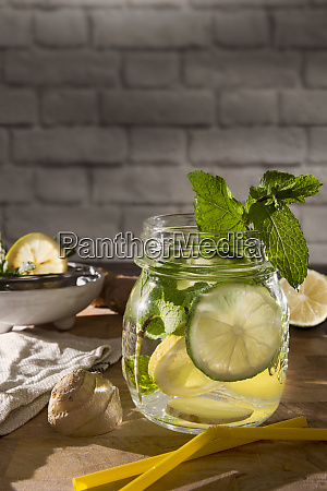 glass of detox water with mint